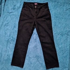 👖NYDJ Black Straight Leg Jeans Size 10 VGUC